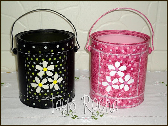 Latas recicladas com pintura #can #recycling #crafts