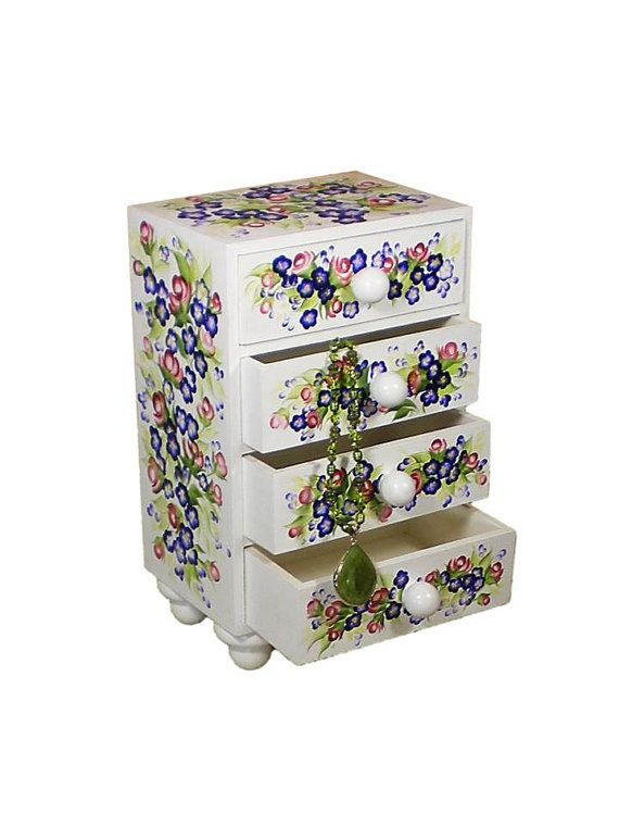Hand Painted Jewelry Chest - Red Roses and Blue Flowers, Wooden Box Feet, Large Jewelry Chest  - Floral Custom Jewelry Box