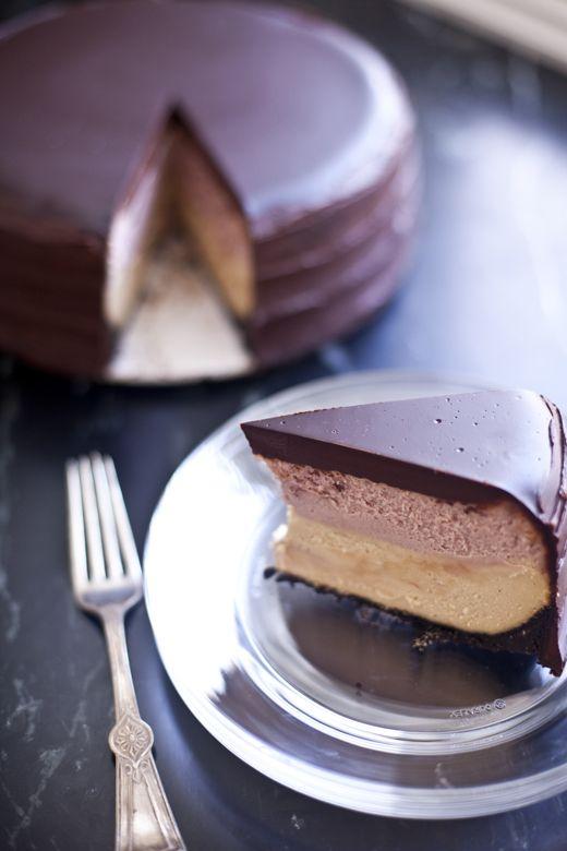 PB Cheesecake with Poured Ganache