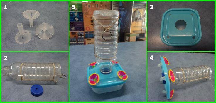 Aprender a hacer un bebedero para colibríes reciclar botellas pet