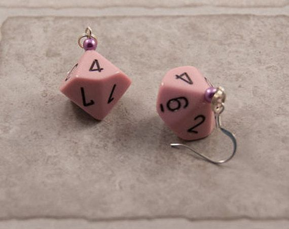Pink D10 Dice Earrings  Tabletop Gaming Jewelry by TheDiceofLife