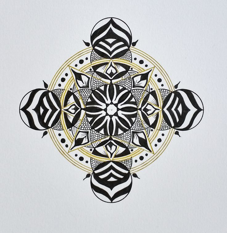 Mandala in black & Gold ink. Hand drawn by Sharon Morgan of ManifestingMandalas.com #mandala #manifestingmandalas #100mandalas #shazjmorgan
