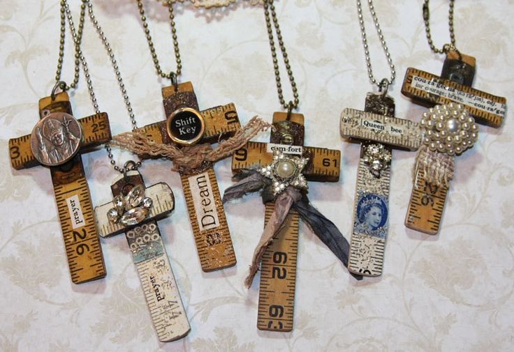 Carpenters Cross Vintage Wooden Ruler Necklace - A pendant made from a vintage wooden ruler. All sides have been trimmed and sanded and a special word or message collaged to the front. You could wear this as a pendant, hang it in your studio or dangle it from your car's rear view mirror as a safety token. It's up to you!