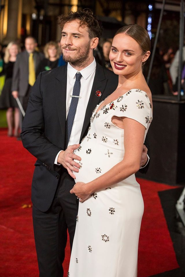 Sam Claflin and wife on the red carpet. #MockingjayUK