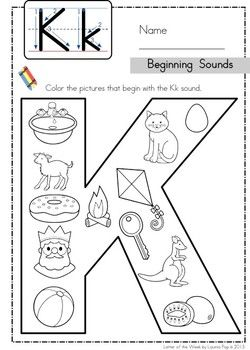 Phonics Letter of the Week Kk: Beginning Sounds color it page.