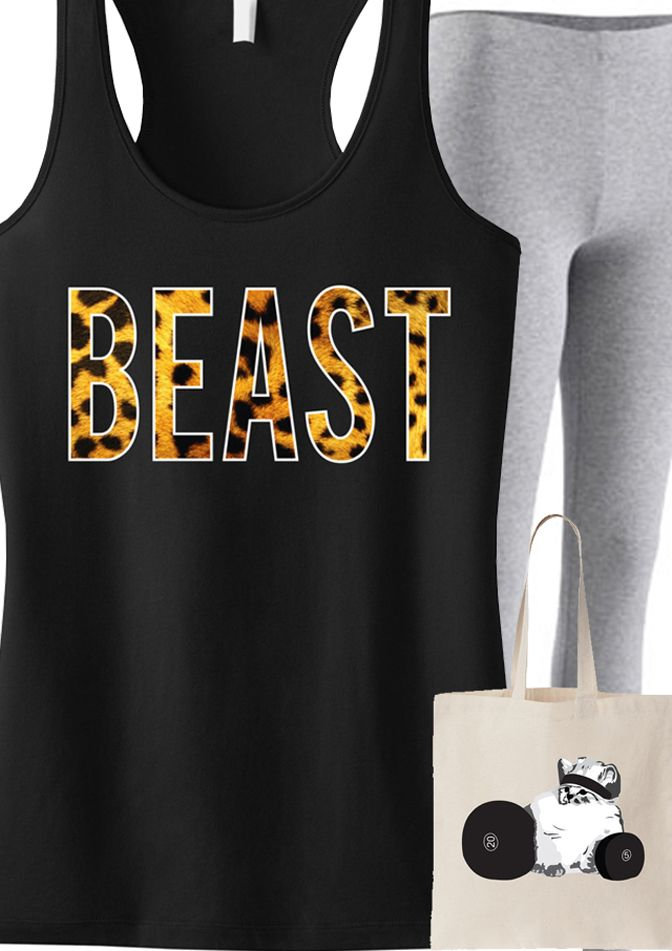 #Workout in style with this super cute #Fitness gear! Featuring a BEAST Leopard Tank and CHECK MEOWT Tote. By NoBullWomanApparel, $24.99 on Etsy. Click here to buy https://www.etsy.com/listing/155249548/beast-leopard-on-black-workout-tank?ref=shop_home_active_1