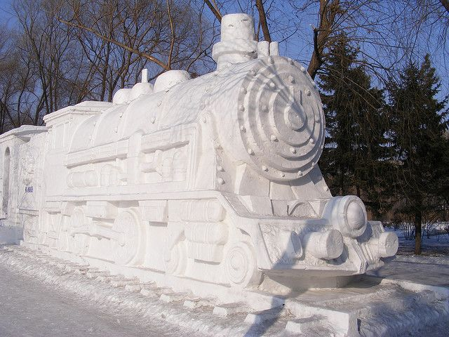 Snow steam train, Harbin International Ice and Snow Sculpture Festival by Rincewind42, via Flickr