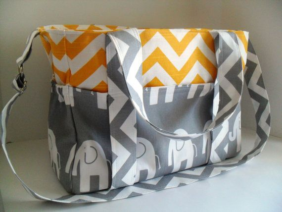 Extra Large Diaper bag Made of Yellow and White by fromnancy