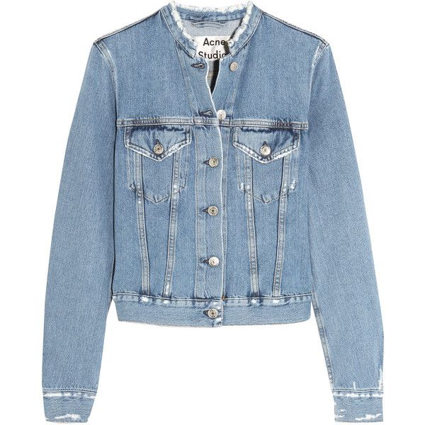 Acne Studios Distressed denim jacket ($400) ❤ liked on Polyvore featuring outerwear, jackets, slim denim jacket, collarless jackets, slim jean jacket, blue jackets and collarless denim jacket