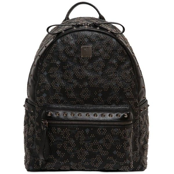 MCM Stark Balam Medium Studded Backpack ($1,670) ❤ liked on Polyvore featuring bags, backpacks, mcm, black, studded backpack, mcm bag, padded backpack, logo backpack and leather zipper backpack