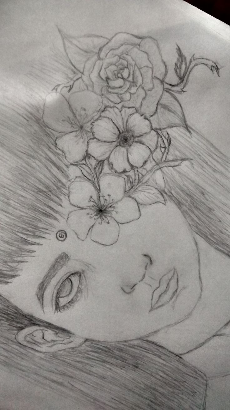 draw of a woman and flowers in her head