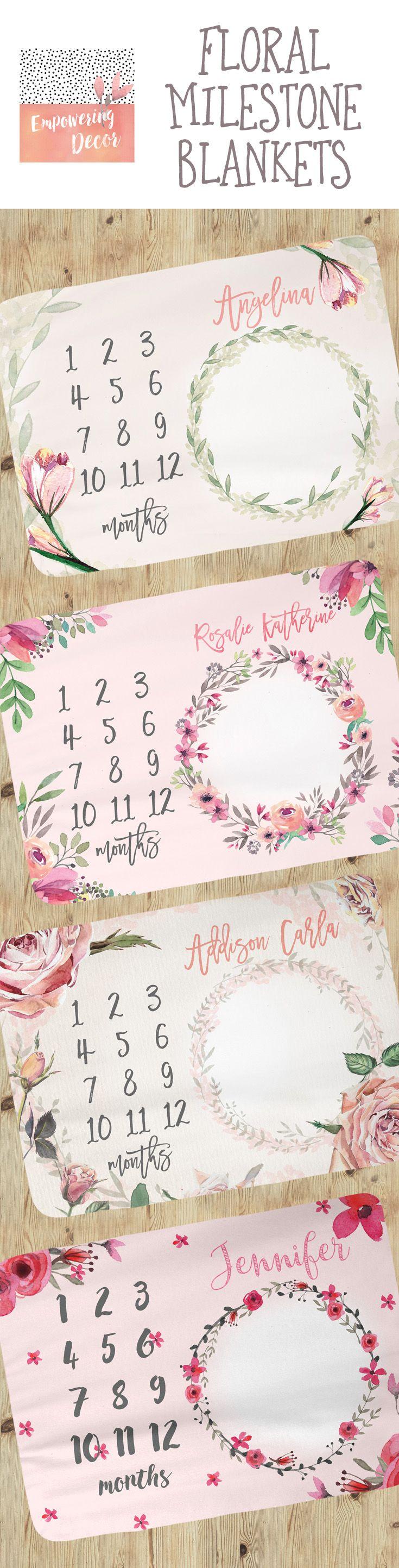 Baby Milestone Blanket - Personalized Baby Blanket - Floral Baby Milestone Blanket - Baby Blanket - Calendar Photo Prop - Baby Girl blanket