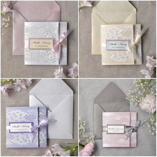4 DIY Vintage Spitze Einladungskarten Für Hochzeit Klappkarte Lila Blush  Pink Und Creme Schleife DIY Vintage
