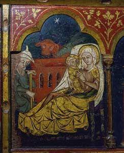 Jesu fødsel. Maleri på alterbordsforside fra Løgumkloster Kirke, omkring 1325.