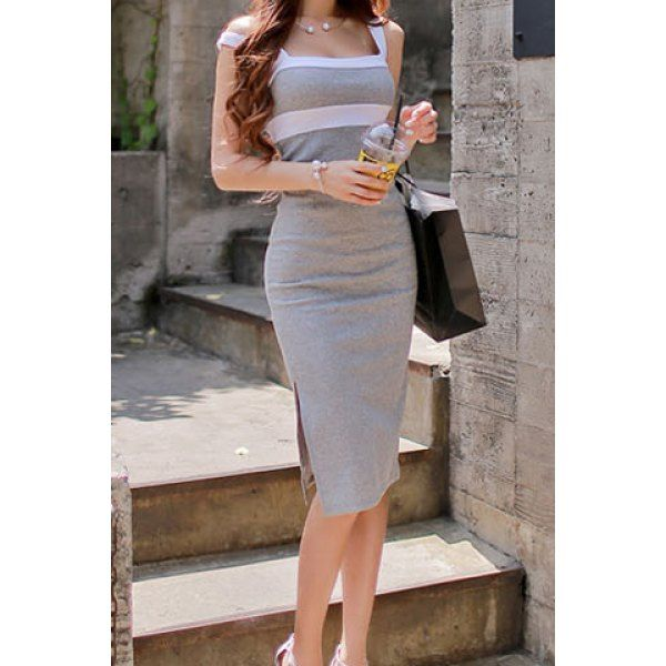 Wholesale Sexy Plunging Neck Sleeveless Backless Color Block Bodycon Women's Dress Only $6.20 Drop Shipping   TrendsGal.com