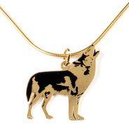 Collar Lobo  - Collar en bronce con baño de oro libre de niquel. El dije de esta cadena ha sido cortado y pintado a mano por artesanos Colombianos.
