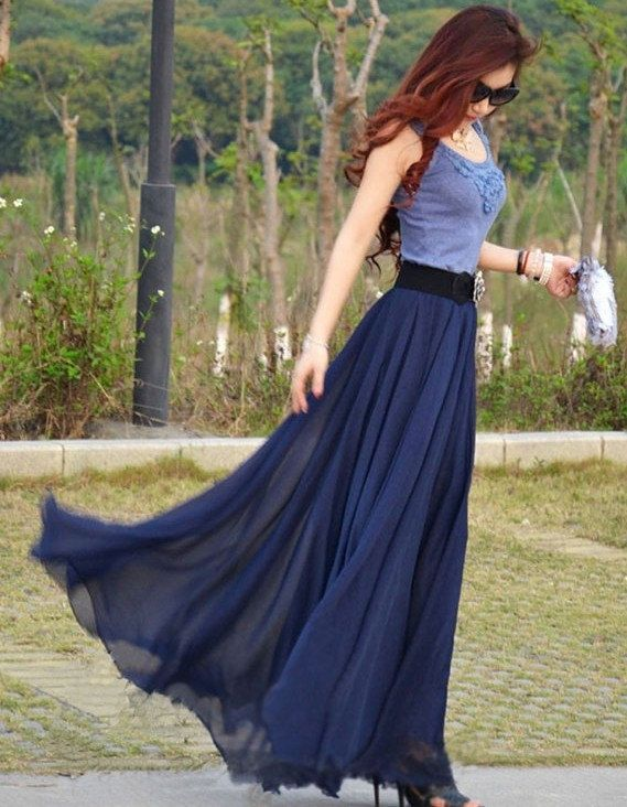 women's navy blue silk Chiffon 8 meters of skirt by colorfulday01, $35.99