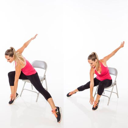 6 Seated Moves That Work Your Whole Body; Don't know how silly I'll look doing this at work, but at least I'll really have no excuse to work out.