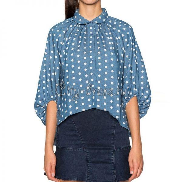 Фото джинсовая блузка в горох с рукавом фонарь