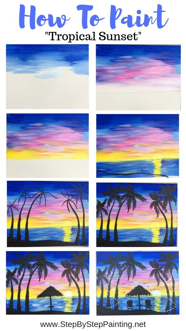 How To Paint A Palm Tree Sunset