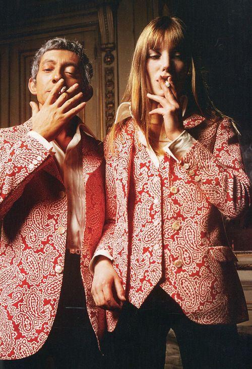 Love :Jane Birkin and Serge Gainsbourg in matching jackets (1969)