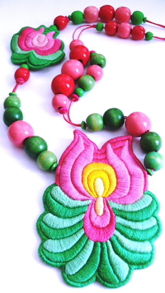 "A Bit of Hungary - Hand Embroidered ""Matyo"" Folk Necklace - Pink and Green"