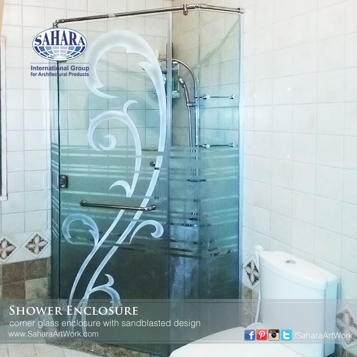 Corner Glass Shower Enclosure With Sandblasted Design Complimented With  Royal Glass Hardware Accessories