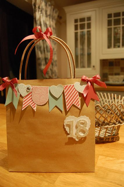 Turn a plain brown bag into something incredible that the receiver will want to keep as a memory reminder.  Great idea.