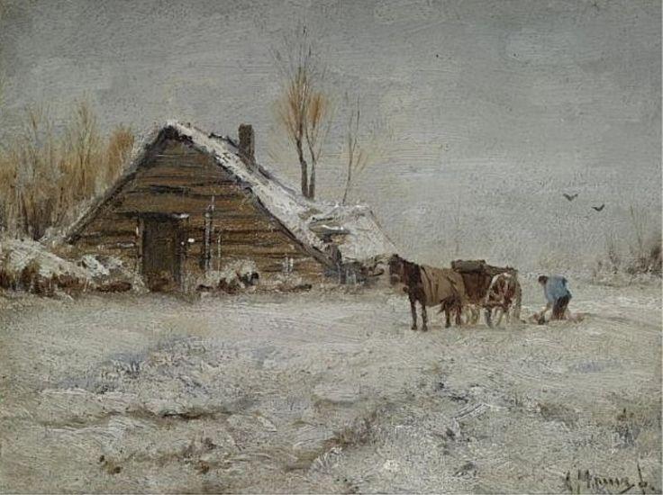 Anton Mauve - Boer aan het werk op een winterse dag
