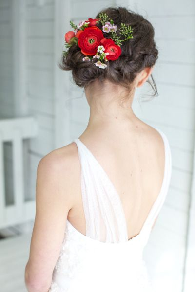Gorgeous floral filled wedding hair: http://www.stylemepretty.com/canada-weddings/quebec/2014/08/04/romantic-barn-wedding-inspiration-shoot/   Photography: Valerie Busque - http://www.valeriebusque.net/