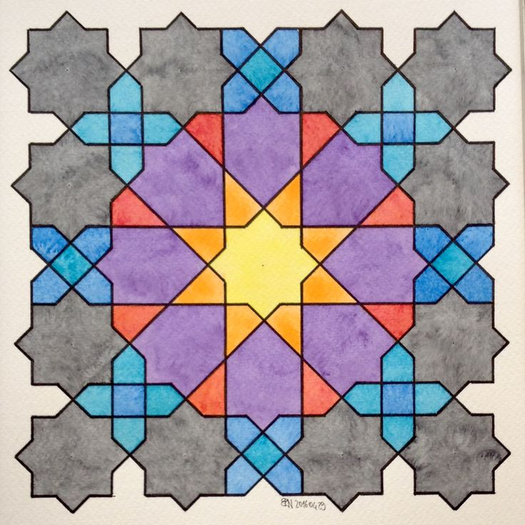 #Islamic #arabic #geometry #symmetry #pattern #watercolor #aquarelle…