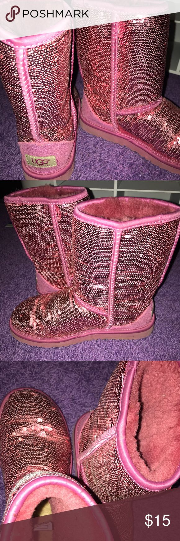 Pink sequin UGG'S Gently used pink sequin UGG's with sparkly rims at the bottom. UGG Shoes Winter & Rain Boots