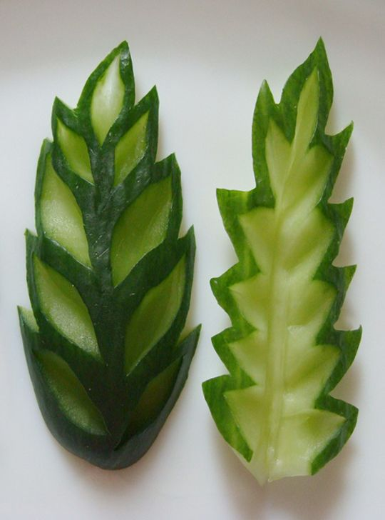 Carved cucumber leaves                                                       …