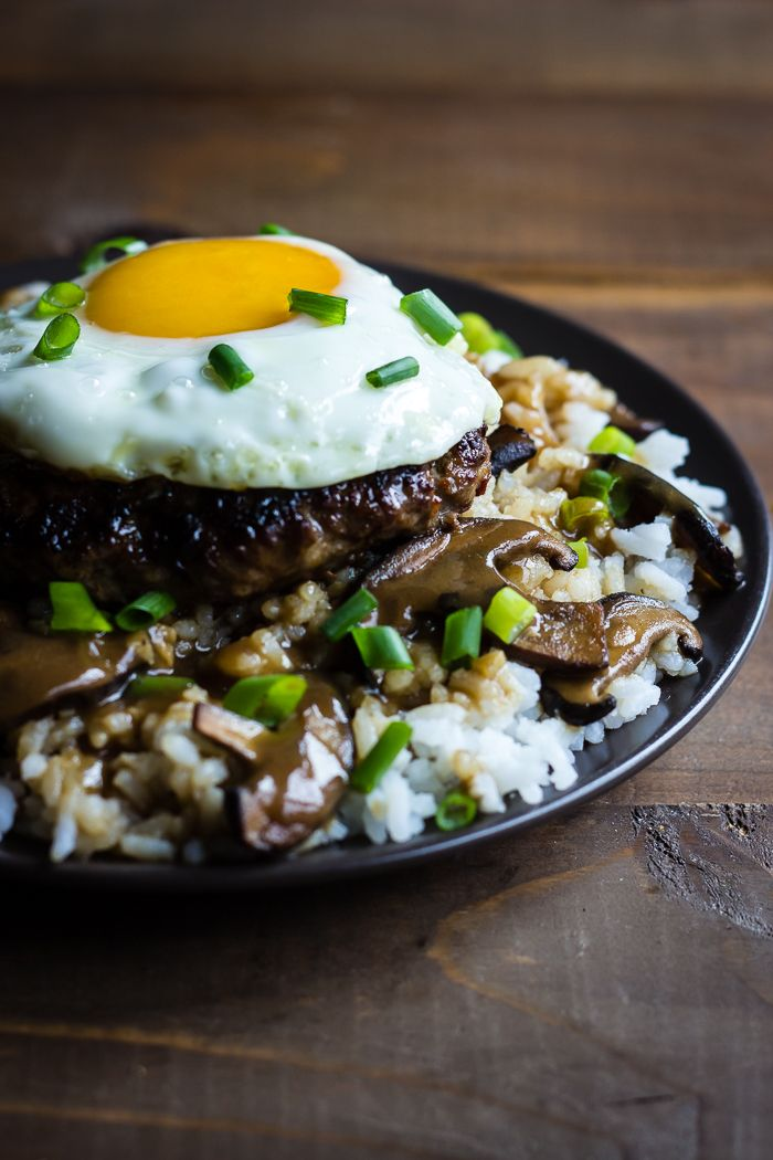 This version of Loco Moco is incredible- its like aloha on a plate. Hawaiian comfort food meets Korean umami for a fusion that is seriously good {Gluten-free}