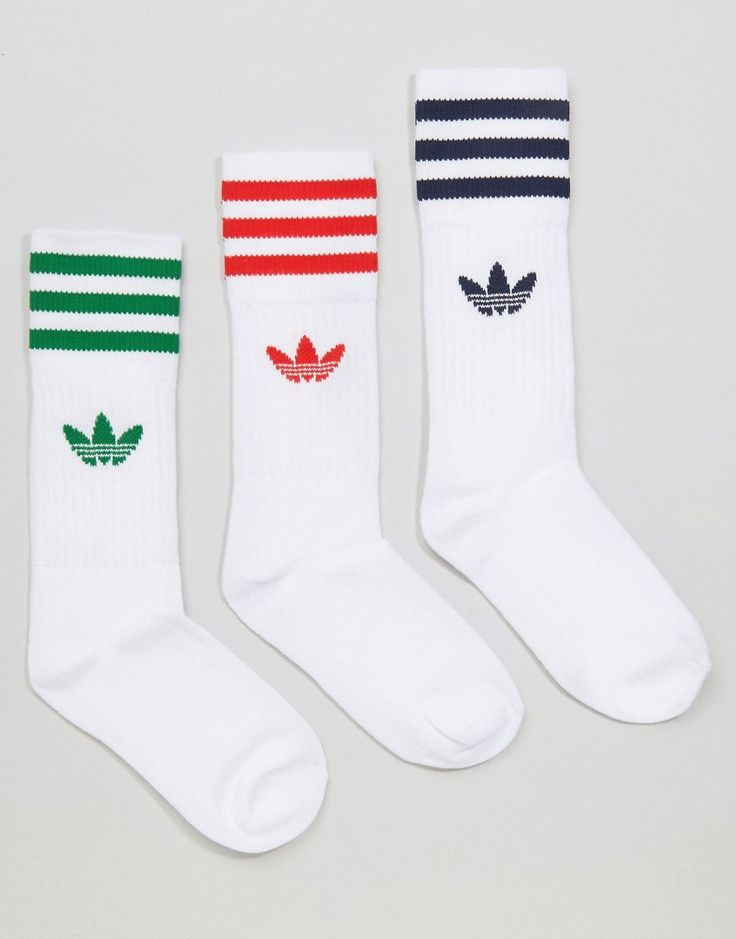 adidas Originals 3 Pack Socks In Primary Colors With Trefoil Logo