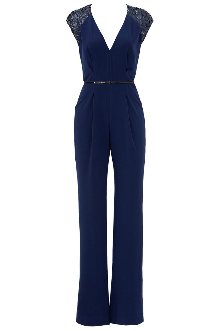 Rent the runway blue jumpsuit with lace