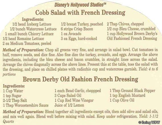Brown-Derby-Cobb-Salad-Recipe This restaurant is where Cobb Salad originated...nothing beats this original recipe!!