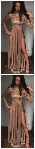 High Neck Champagne Gold Sexy Evening Dress Splits Long Sleeve Illusion Prom Dress PD20189184