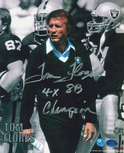 """Tom Flores Oakland Raiders Autographed 8x10 Photo Inscribed """"""""4X SB Champion"""""""" -Coaching-"""