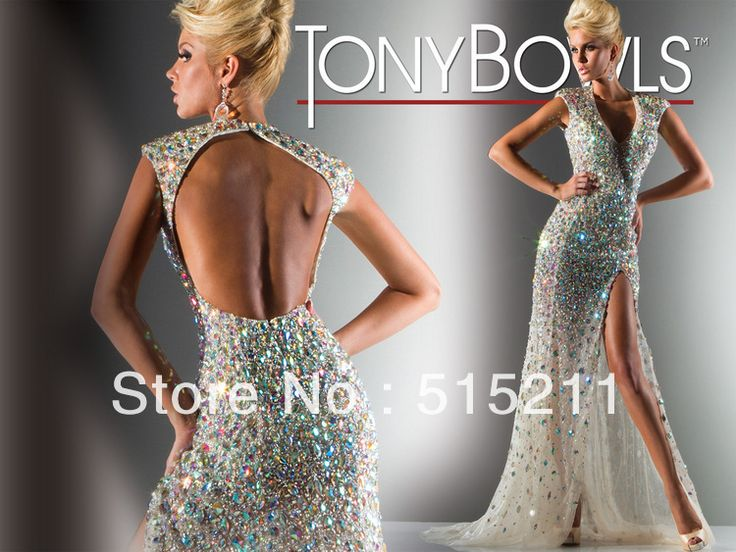 Custom Made Sexy Deep V-neck Open Back Side Slit Mermaid Prom Dress Tony Bowls New Design Evening Gowns 2013 New $198.00