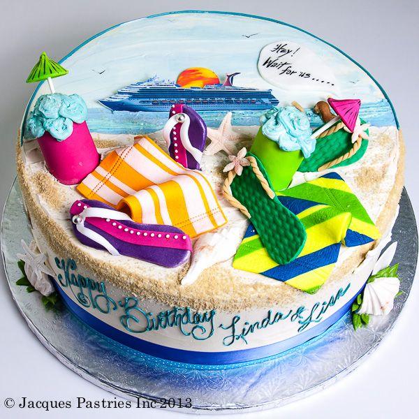 Beach theme cake - LOVE the colours!
