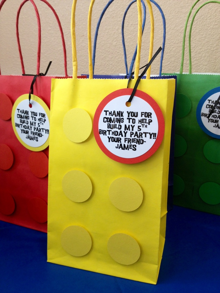 Lego Block Bags: Can be used as favor bags or gift bags. I made these as my son's favor bags for his Lego Birthday Party. They are inexpensive and simple to make!
