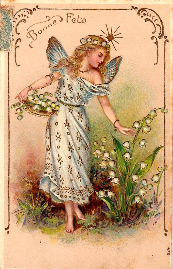 Vintage Romantic woman Postcard . Embossed