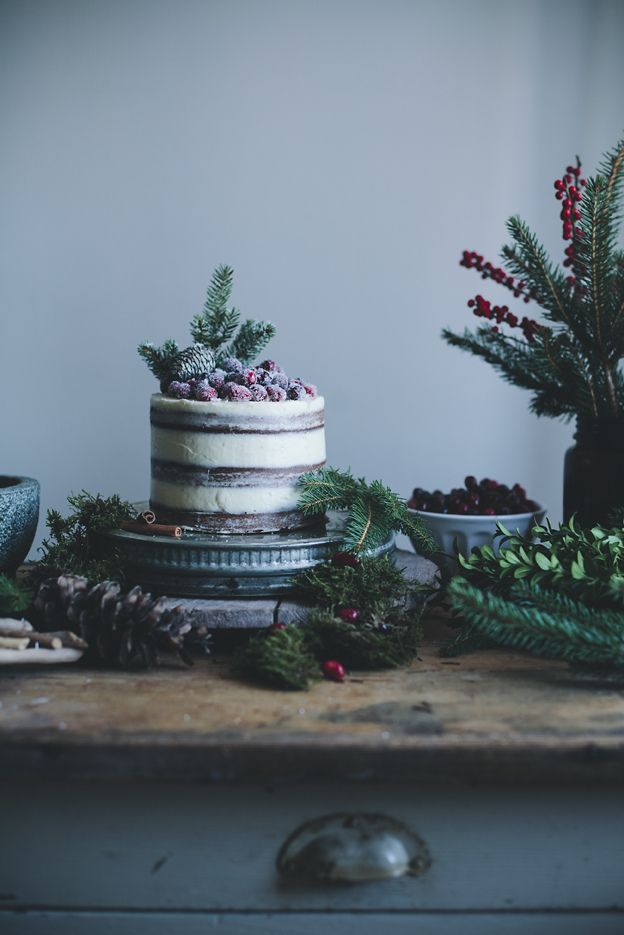 Soft Gingerbread Cake with Cream Cheese Frosting & Sugared Cranberries | Call Me Cupcake!