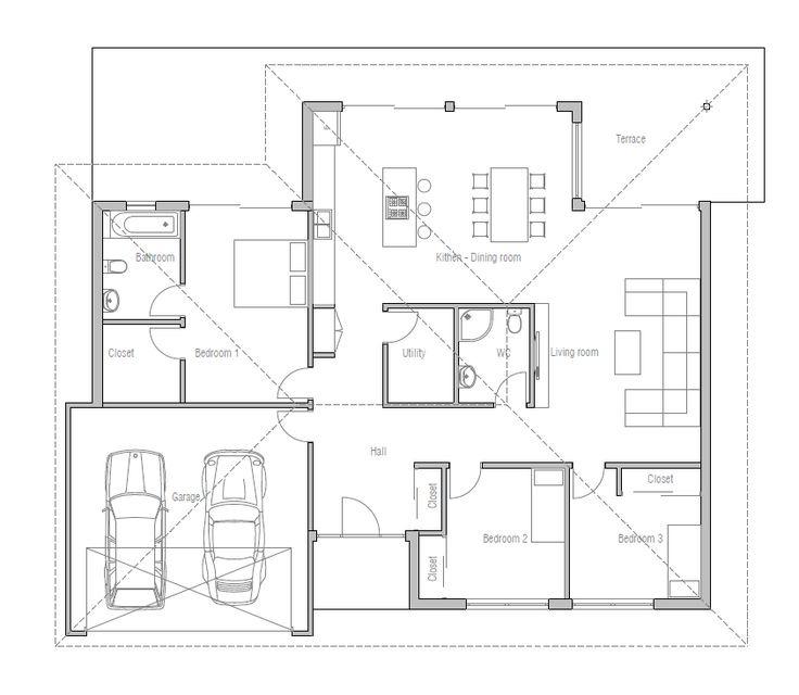Small 3 Bedroom Open Floor Plan: Small House Plan With Three Bedrooms And Open Plan. Large