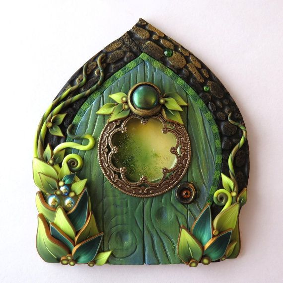 Absinthe Green Fairy Door Miniature Door Fairy Garden by Claybykim