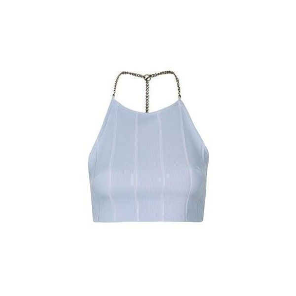 TopShop Petite Chain Bandage Crop Top ($35) ❤ liked on Polyvore featuring tops, light blue, blue crop top, spaghetti-strap top, chain top, strappy top and embellished crop top