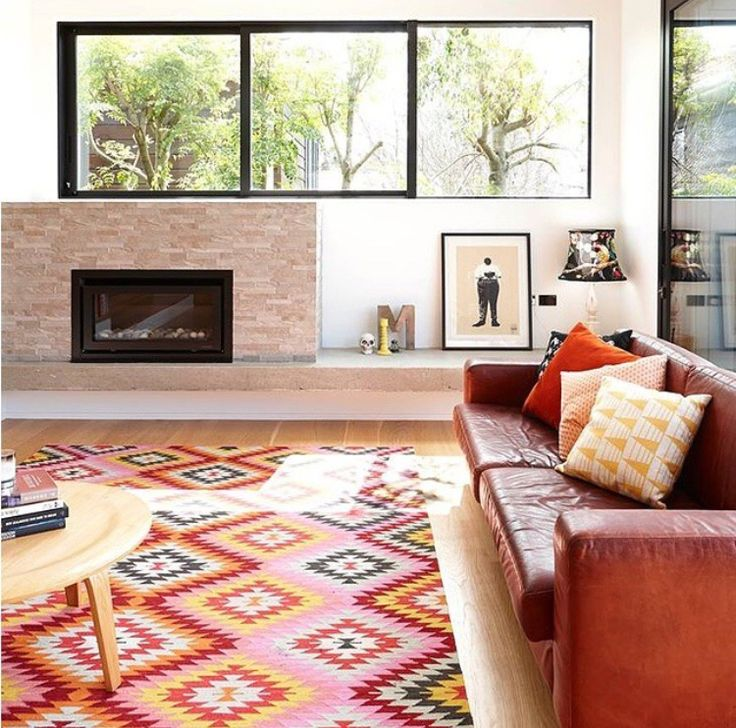 Well this uplifts the spirit. A gorgeous bright interior featuring our Caravan rug in Your Home and Garden | See more at www.armadillo-co.com