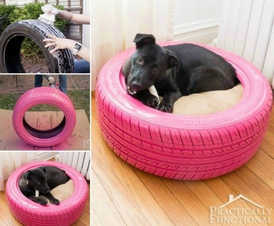 "Pallet beds are cool, but <a href=""http://www.practicallyfunctional.com/diy-dog-bed-from-a-recycled-tire/"" target=""_blank"">this old tire version</a> is a lot simpler."