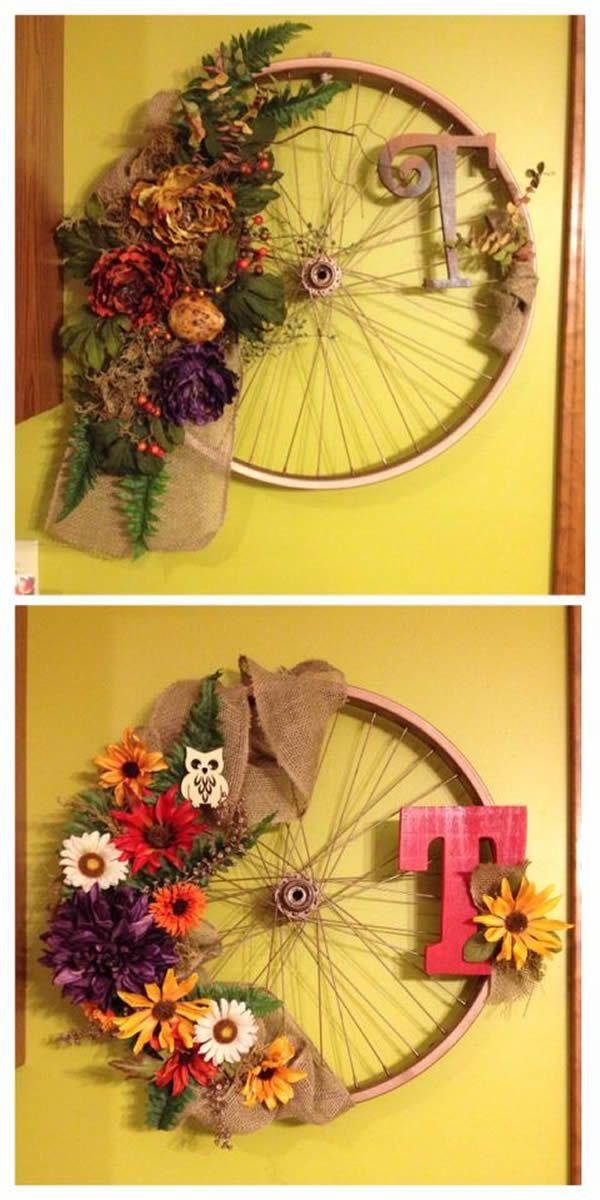 Artesanato com roda de bicicleta
